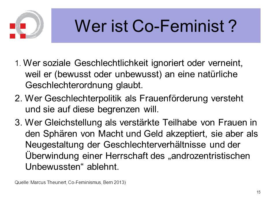 Wer ist Co-Feminist ? 1. Wer soziale Geschlechtlichkeit ignoriert oder verneint, weil er (bewusst oder unbewusst) an eine natürliche Geschlechterordnu