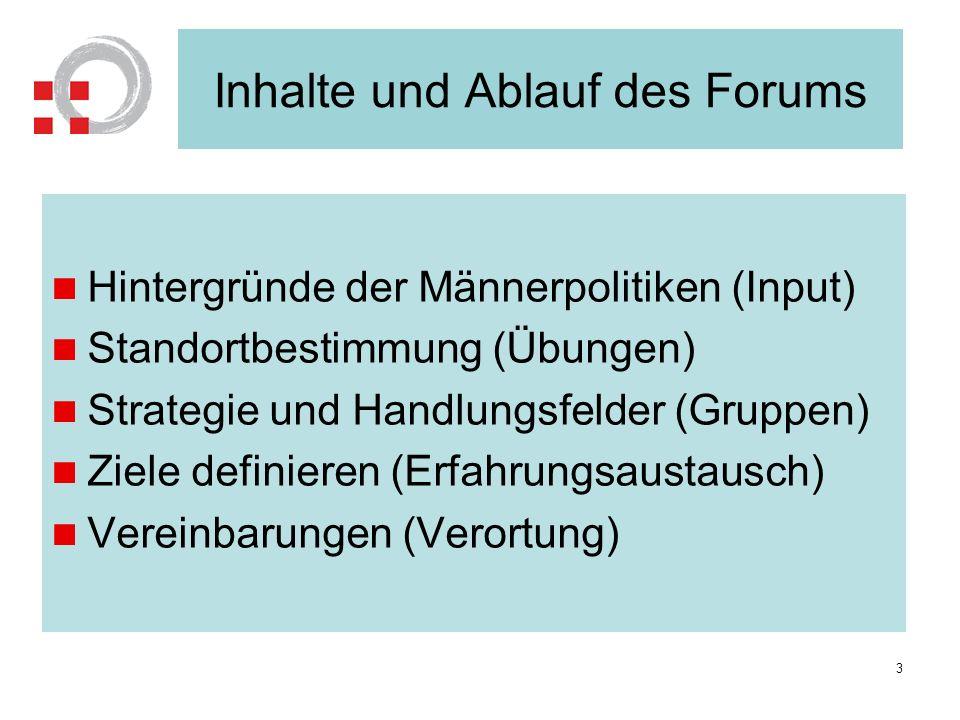 Inhalte und Ablauf des Forums Hintergründe der Männerpolitiken (Input) Standortbestimmung (Übungen) Strategie und Handlungsfelder (Gruppen) Ziele defi