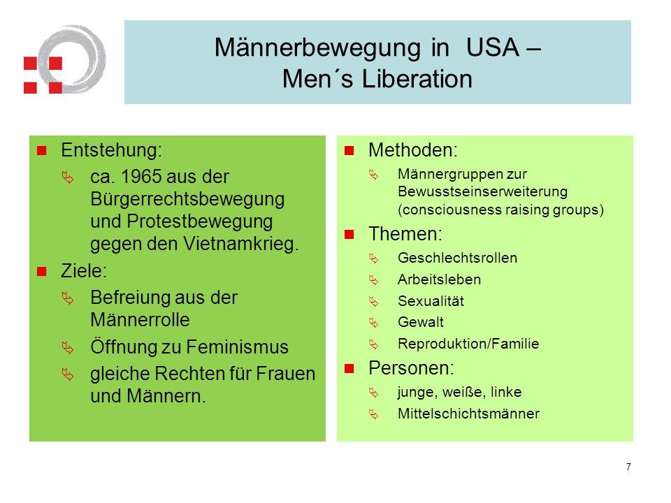 Männerbewegung in USA – Men´s Liberation Entstehung: ca. 1965 aus der Bürgerrechtsbewegung und Protestbewegung gegen den Vietnamkrieg. Ziele: Befreiun