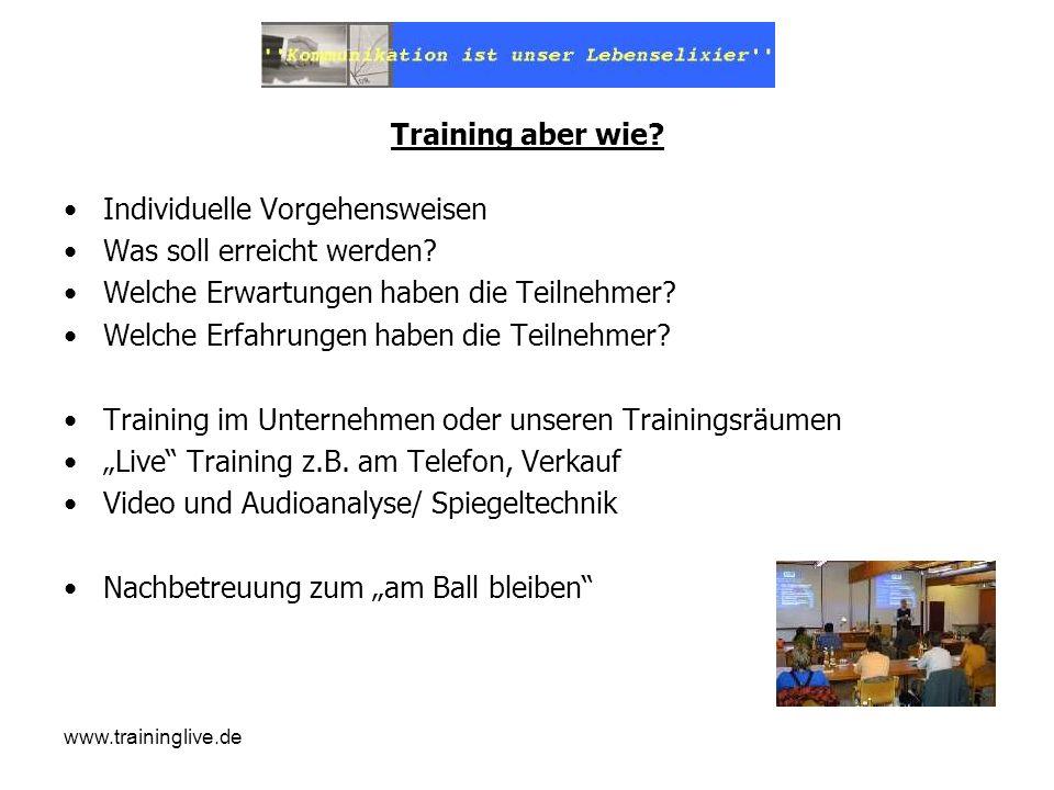 www.traininglive.de Training aber wie? Individuelle Vorgehensweisen Was soll erreicht werden? Welche Erwartungen haben die Teilnehmer? Welche Erfahrun