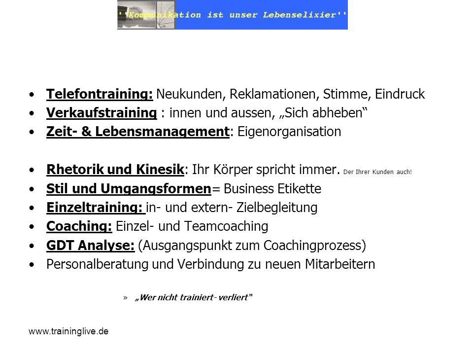 www.traininglive.de Telefontraining: Neukunden, Reklamationen, Stimme, Eindruck Verkaufstraining : innen und aussen, Sich abheben Zeit- & Lebensmanage