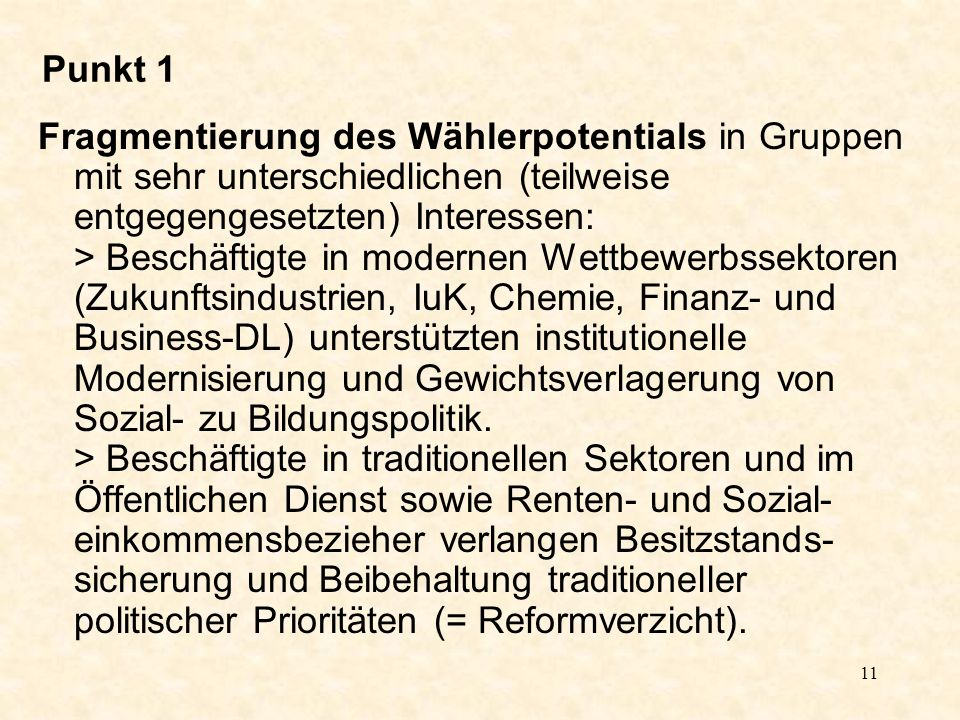 11 Punkt 1 Fragmentierung des Wählerpotentials in Gruppen mit sehr unterschiedlichen (teilweise entgegengesetzten) Interessen: > Beschäftigte in modernen Wettbewerbssektoren (Zukunftsindustrien, IuK, Chemie, Finanz- und Business-DL) unterstützten institutionelle Modernisierung und Gewichtsverlagerung von Sozial- zu Bildungspolitik.