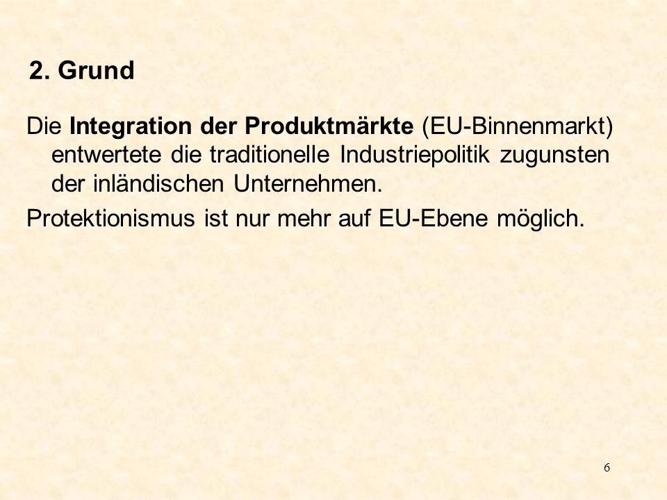 6 2. Grund Die Integration der Produktmärkte (EU-Binnenmarkt) entwertete die traditionelle Industriepolitik zugunsten der inländischen Unternehmen. Pr