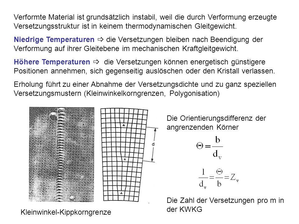 Verformte Material ist grundsätzlich instabil, weil die durch Verformung erzeugte Versetzungsstruktur ist in keinem thermodynamischen Gleitgewicht.