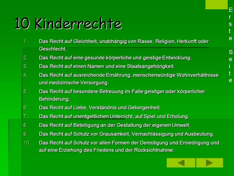 Kinderrechte Kinderrechte 10 KinderrechteKinderrechte ExkursExkurs: Kinder in Deutschland Kinder in Entwicklungsländern Erste SeiteErste Seite