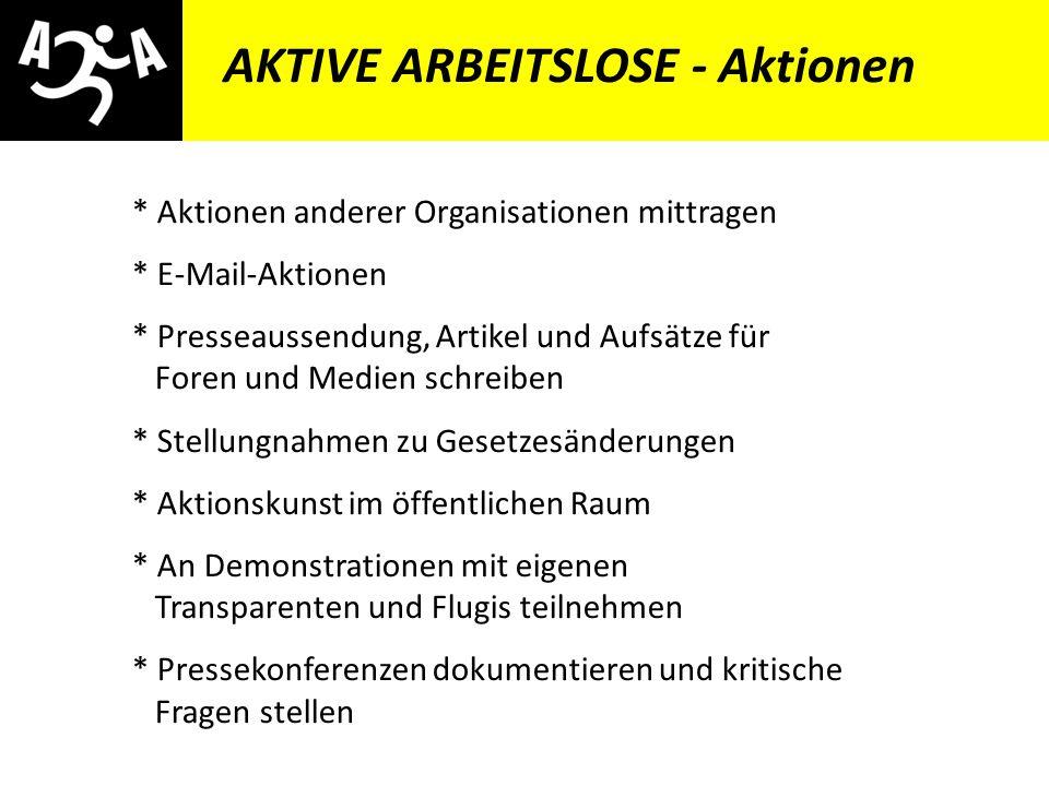 AIVG Novelle > verschlechtert AKTIVE ARBEITSLOSE - Ziele * Rechtsinformation verbessern (Beratung, Erste Hilfe Handbuch für Arbeitslose) * Betroffene