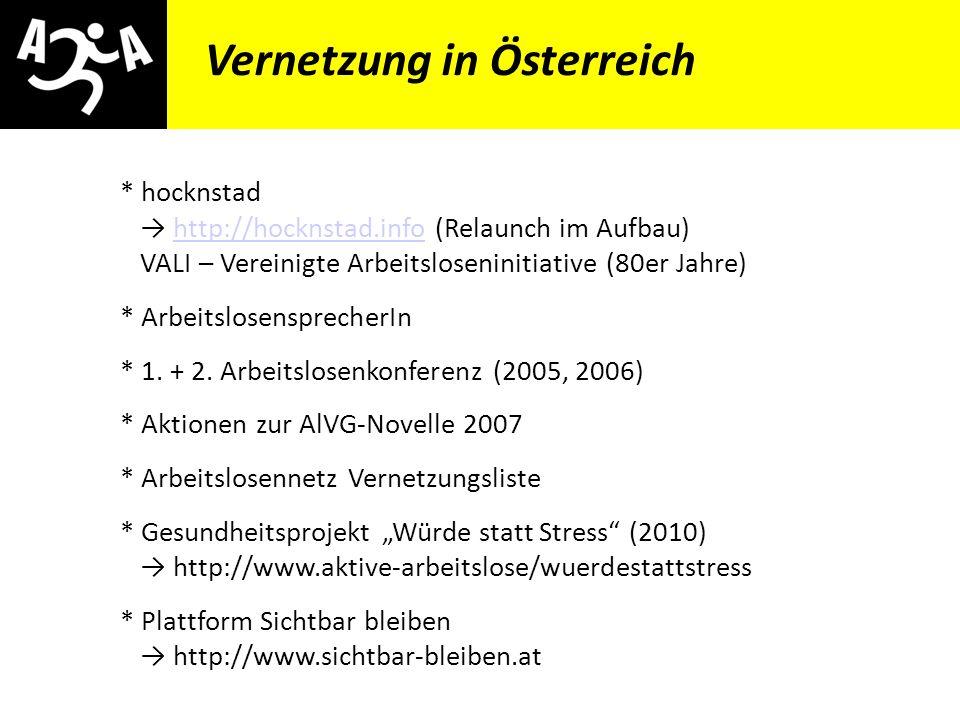 AIVG Novelle > verschlechtert Andere Initiativen in Österreich 2 Initiativen die von Einzelpersonen geführt werden, z.B. * Christian Moser - SONED (OÖ