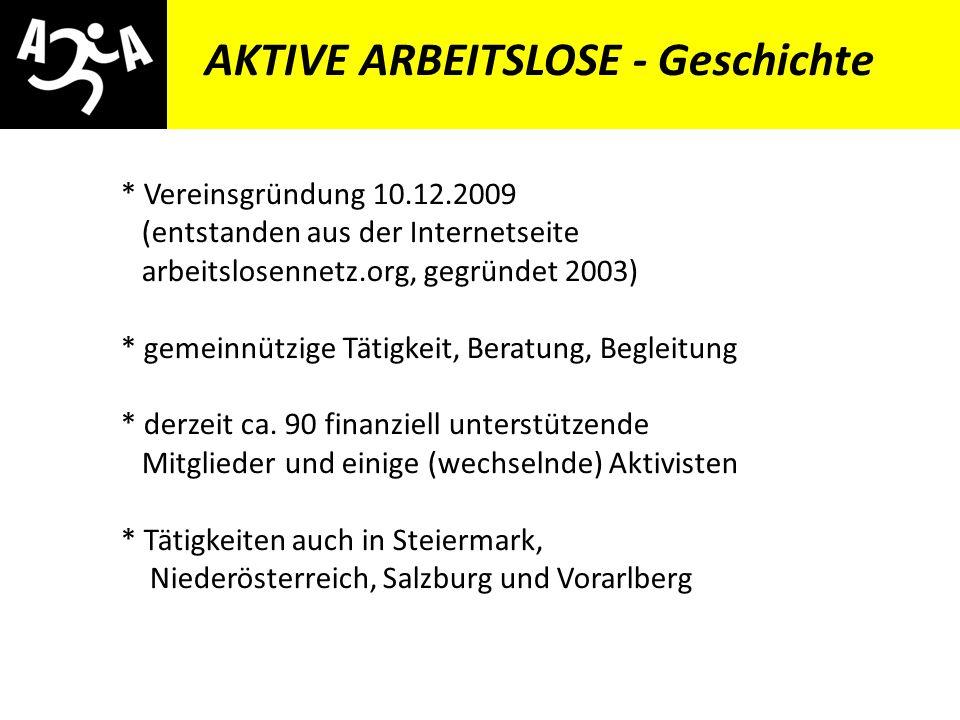 AIVG Novelle > verschlechtert AKTIVE ARBEITSLOSE - Geschichte * Vereinsgründung 10.12.2009 (entstanden aus der Internetseite arbeitslosennetz.org, gegründet 2003) * gemeinnützige Tätigkeit, Beratung, Begleitung * derzeit ca.