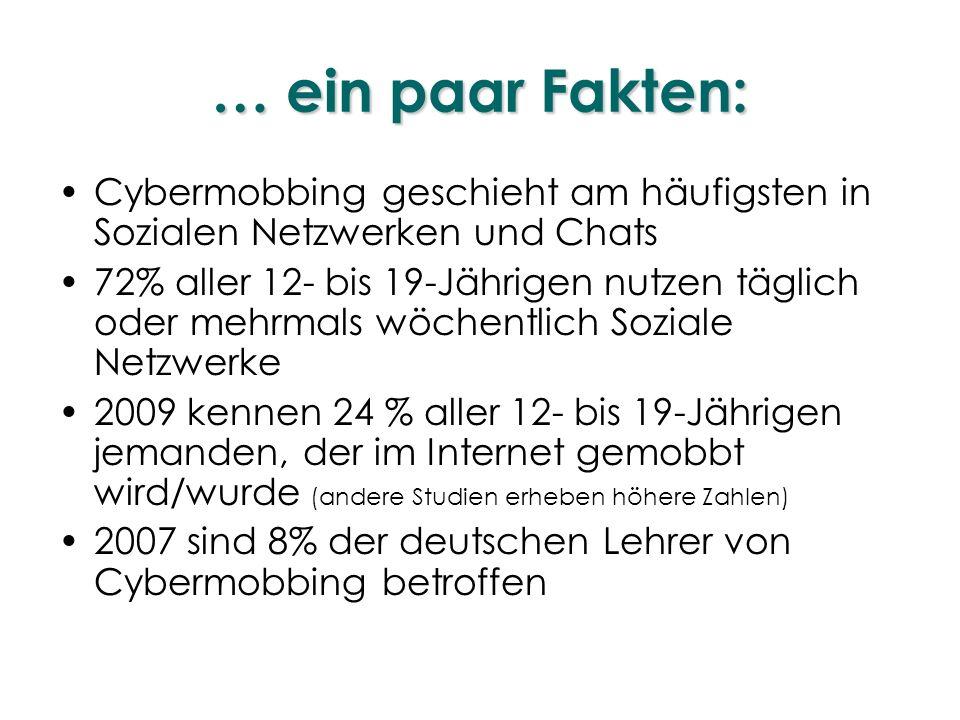… ein paar Fakten: Cybermobbing geschieht am häufigsten in Sozialen Netzwerken und Chats 72% aller 12- bis 19-Jährigen nutzen täglich oder mehrmals wö