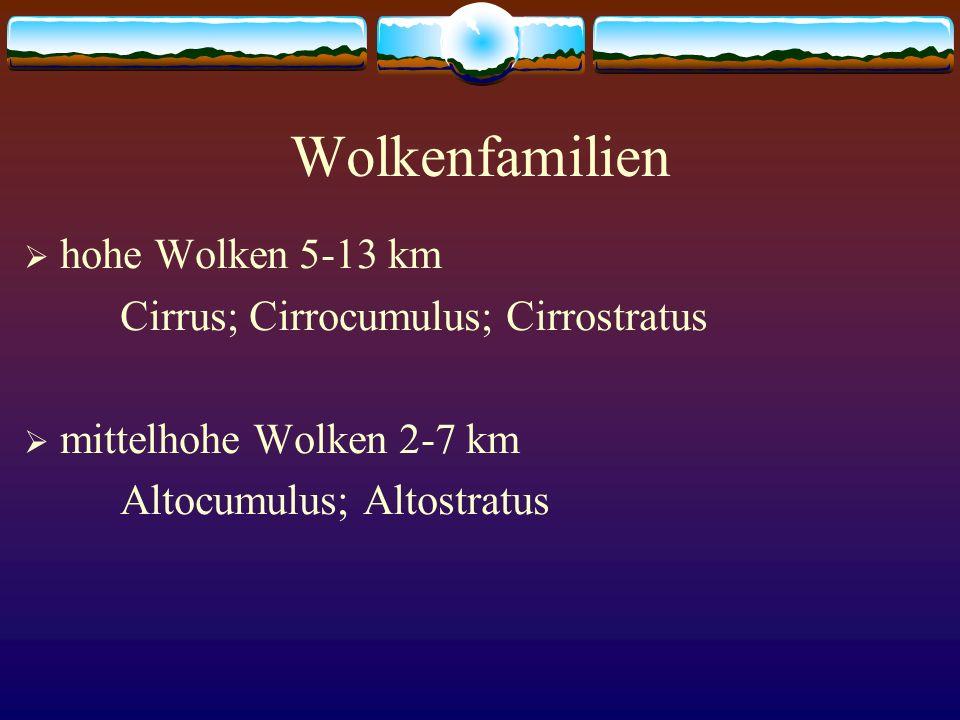 Wolkenfamilien hohe Wolken 5-13 km Cirrus; Cirrocumulus; Cirrostratus mittelhohe Wolken 2-7 km Altocumulus; Altostratus