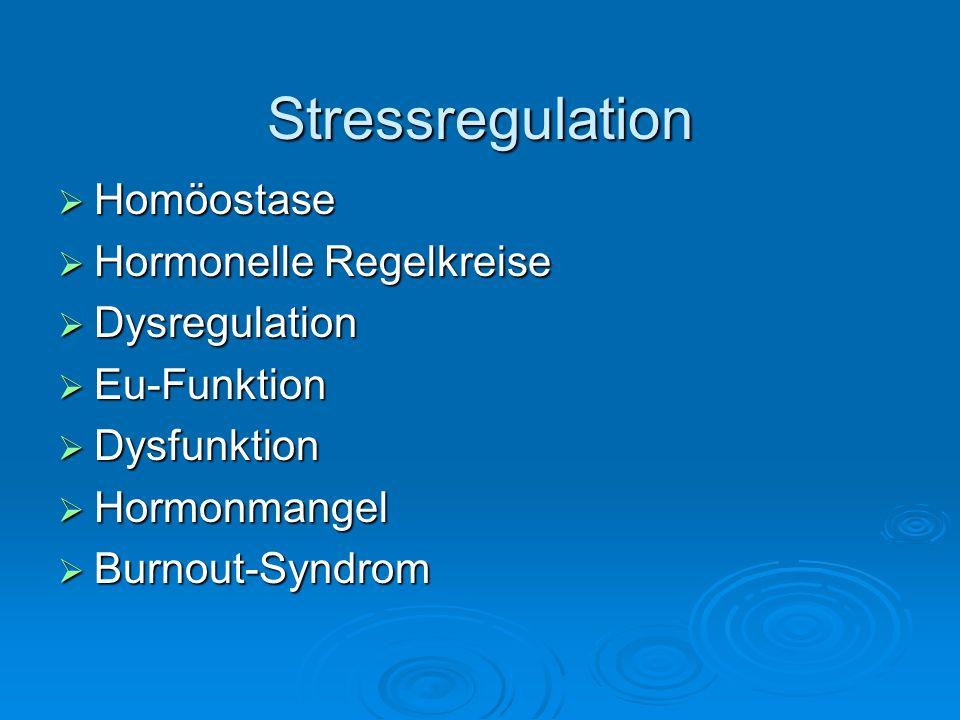 Stressregulation Hypothalamus TRHCRFGRH Hypophyse Hypophyse TSHACTHFSH Betaendorphin SchilddrüseNebenniereGonaden T3, T4CortisolE, P, T AdrenalinNoradrenalin