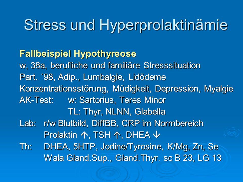 Stress und Hyperprolaktinämie Fallbeispiel Hypothyreose w, 38a, berufliche und familiäre Stresssituation Part. ´98, Adip., Lumbalgie, Lidödeme Konzent