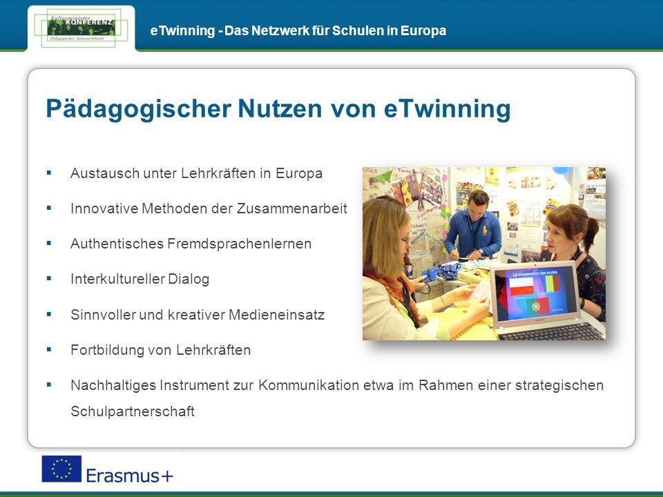 Pädagogischer Nutzen von eTwinning eTwinning - Das Netzwerk für Schulen in Europa Austausch unter Lehrkräften in Europa Innovative Methoden der Zusammenarbeit Authentisches Fremdsprachenlernen Interkultureller Dialog Sinnvoller und kreativer Medieneinsatz Fortbildung von Lehrkräften Nachhaltiges Instrument zur Kommunikation etwa im Rahmen einer strategischen Schulpartnerschaft