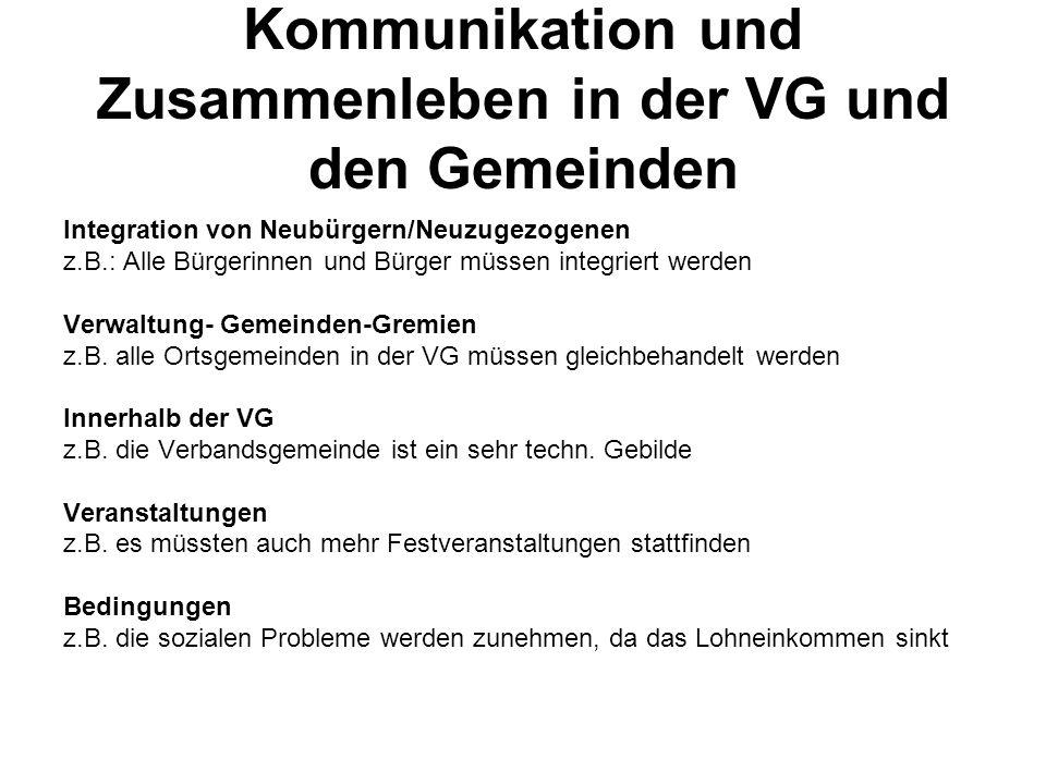 Kommunikation und Zusammenleben in der VG und den Gemeinden Integration von Neubürgern/Neuzugezogenen z.B.: Alle Bürgerinnen und Bürger müssen integriert werden Verwaltung- Gemeinden-Gremien z.B.