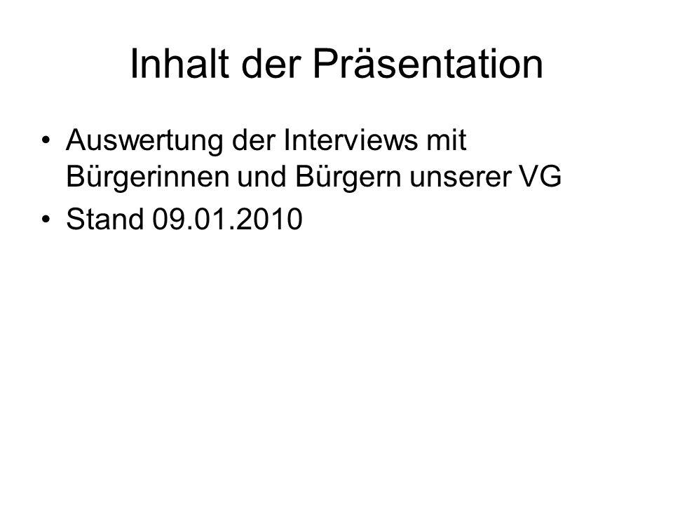 Inhalt der Präsentation Auswertung der Interviews mit Bürgerinnen und Bürgern unserer VG Stand 09.01.2010