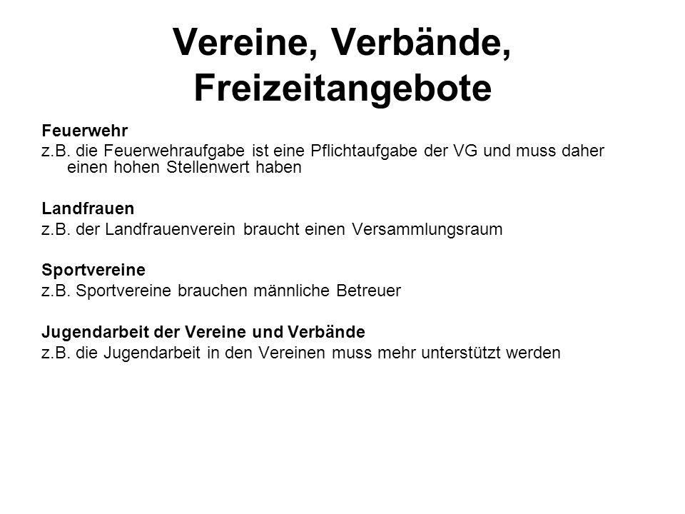 Vereine, Verbände, Freizeitangebote Feuerwehr z.B.