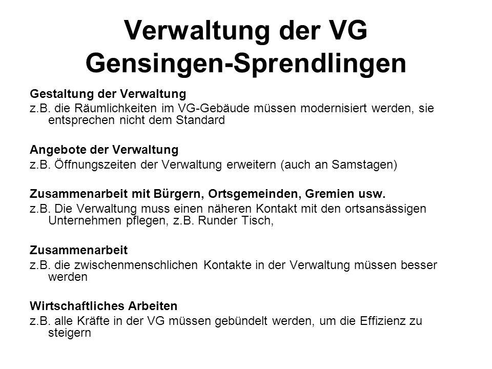 Verwaltung der VG Gensingen-Sprendlingen Gestaltung der Verwaltung z.B.