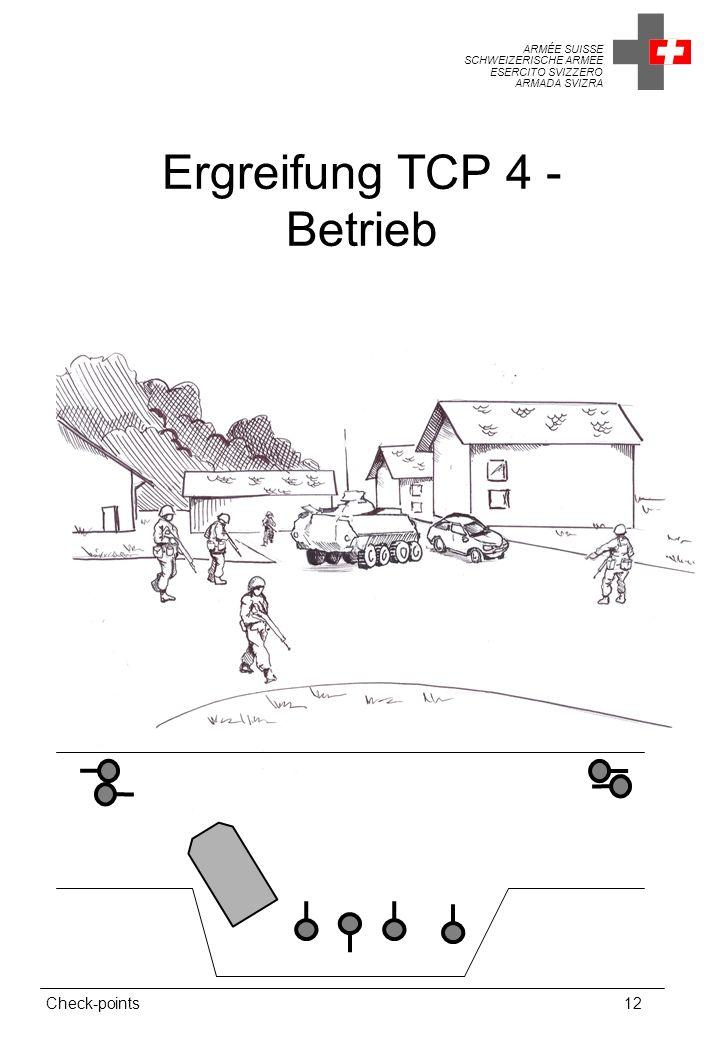 ARMÉE SUISSE SCHWEIZERISCHE ARMEE ESERCITO SVIZZERO ARMADA SVIZRA Check-points12 Ergreifung TCP 4 - Betrieb