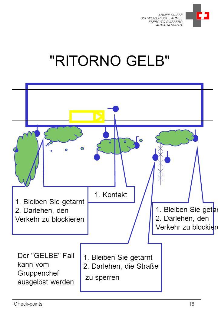 ARMÉE SUISSE SCHWEIZERISCHE ARMEE ESERCITO SVIZZERO ARMADA SVIZRA Check-points18 RITORNO GELB 1.