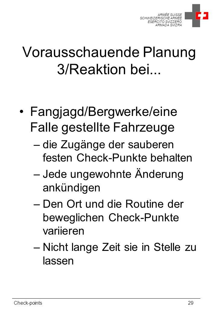ARMÉE SUISSE SCHWEIZERISCHE ARMEE ESERCITO SVIZZERO ARMADA SVIZRA Check-points29 Vorausschauende Planung 3/Reaktion bei...