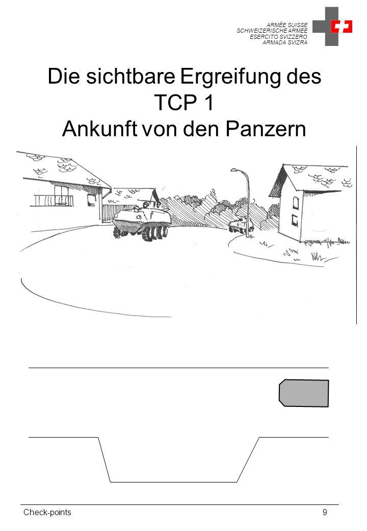 ARMÉE SUISSE SCHWEIZERISCHE ARMEE ESERCITO SVIZZERO ARMADA SVIZRA Check-points9 Die sichtbare Ergreifung des TCP 1 Ankunft von den Panzern