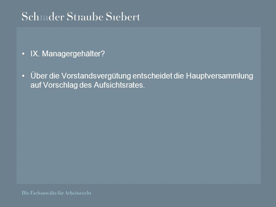 IX. Managergehälter.