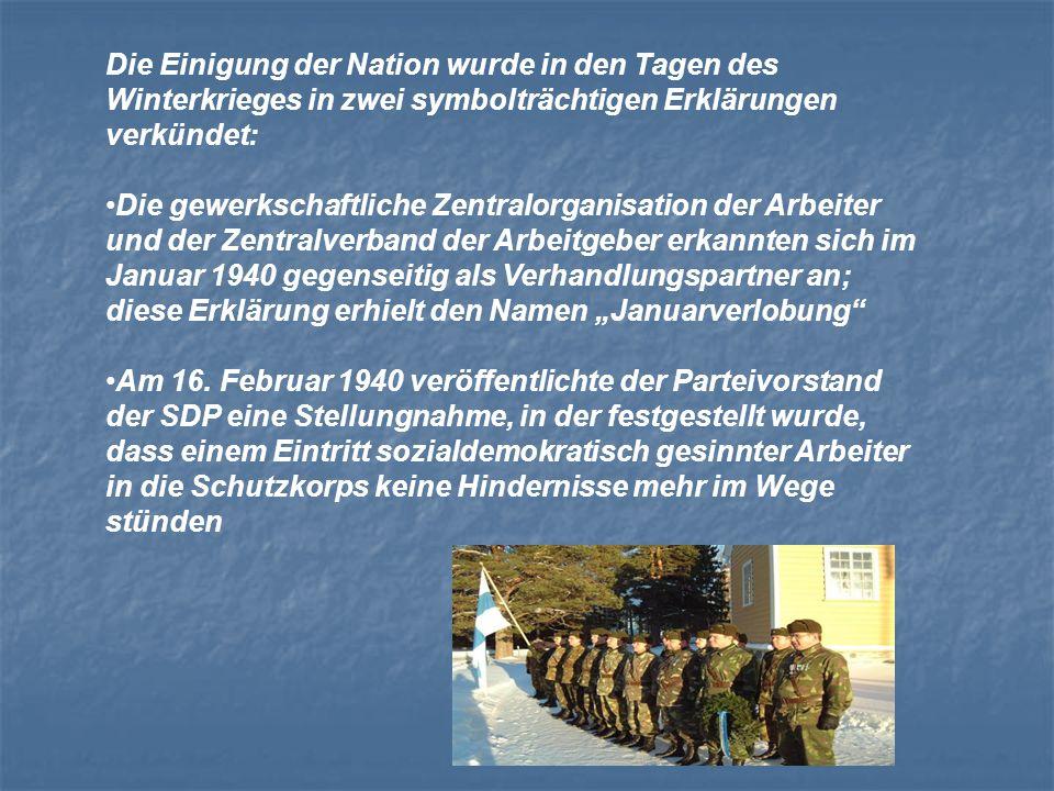 Die Einigung der Nation wurde in den Tagen des Winterkrieges in zwei symbolträchtigen Erklärungen verkündet: Die gewerkschaftliche Zentralorganisation
