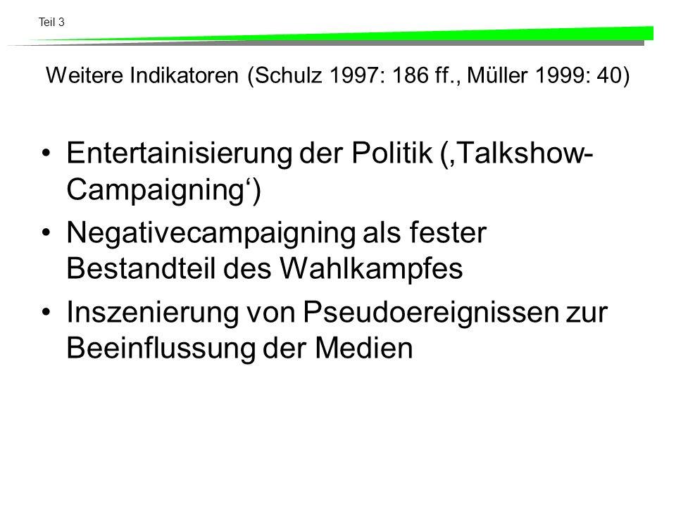 Teil 3 Weitere Indikatoren (Schulz 1997: 186 ff., Müller 1999: 40) Entertainisierung der Politik (Talkshow- Campaigning) Negativecampaigning als feste
