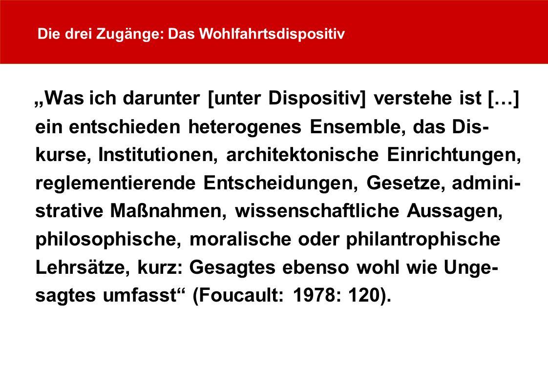 Die drei Zugänge: Das Wohlfahrtsdispositiv Was ich darunter [unter Dispositiv] verstehe ist […] ein entschieden heterogenes Ensemble, das Dis- kurse, Institutionen, architektonische Einrichtungen, reglementierende Entscheidungen, Gesetze, admini- strative Maßnahmen, wissenschaftliche Aussagen, philosophische, moralische oder philantrophische Lehrsätze, kurz: Gesagtes ebenso wohl wie Unge- sagtes umfasst (Foucault: 1978: 120).