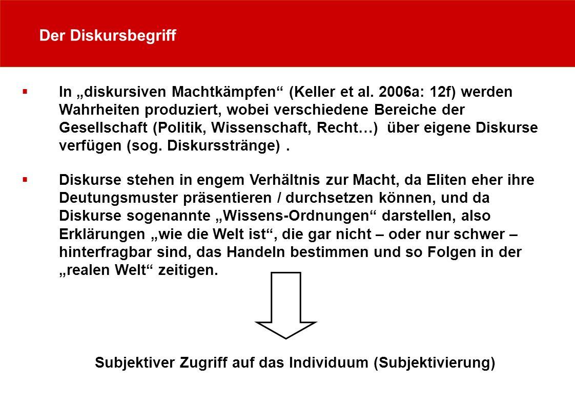Der Diskursbegriff In diskursiven Machtkämpfen (Keller et al. 2006a: 12f) werden Wahrheiten produziert, wobei verschiedene Bereiche der Gesellschaft (