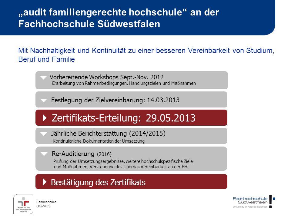 Familienbüro (10/2013) audit familiengerechte hochschule an der Fachhochschule Südwestfalen Mit Nachhaltigkeit und Kontinuität zu einer besseren Verei