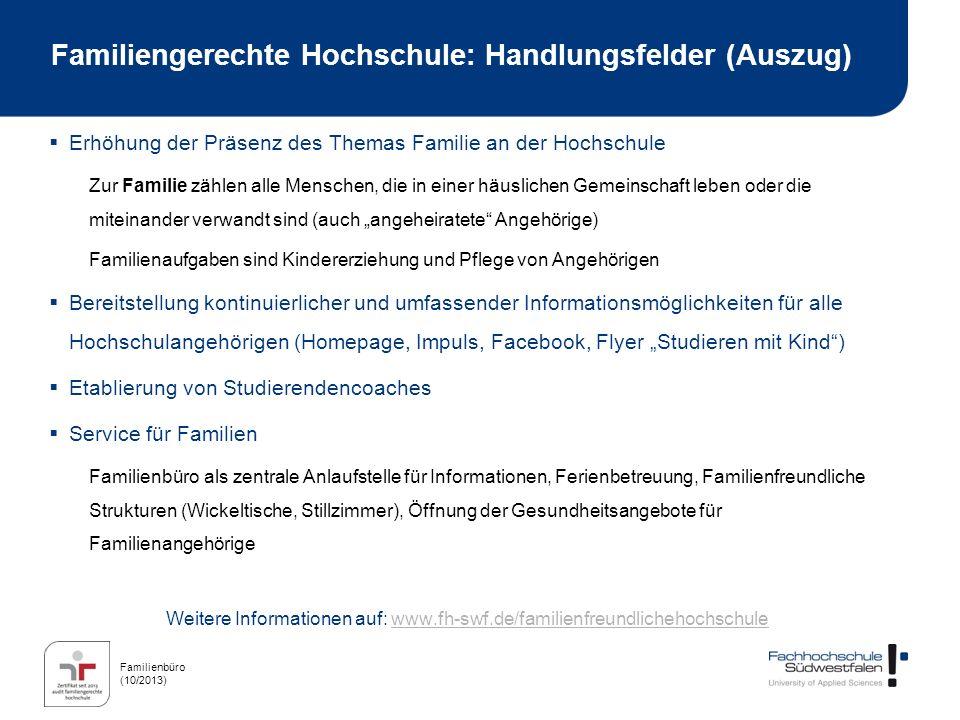 Familienbüro (10/2013) Familiengerechte Hochschule: Handlungsfelder (Auszug) Erhöhung der Präsenz des Themas Familie an der Hochschule Zur Familie zäh