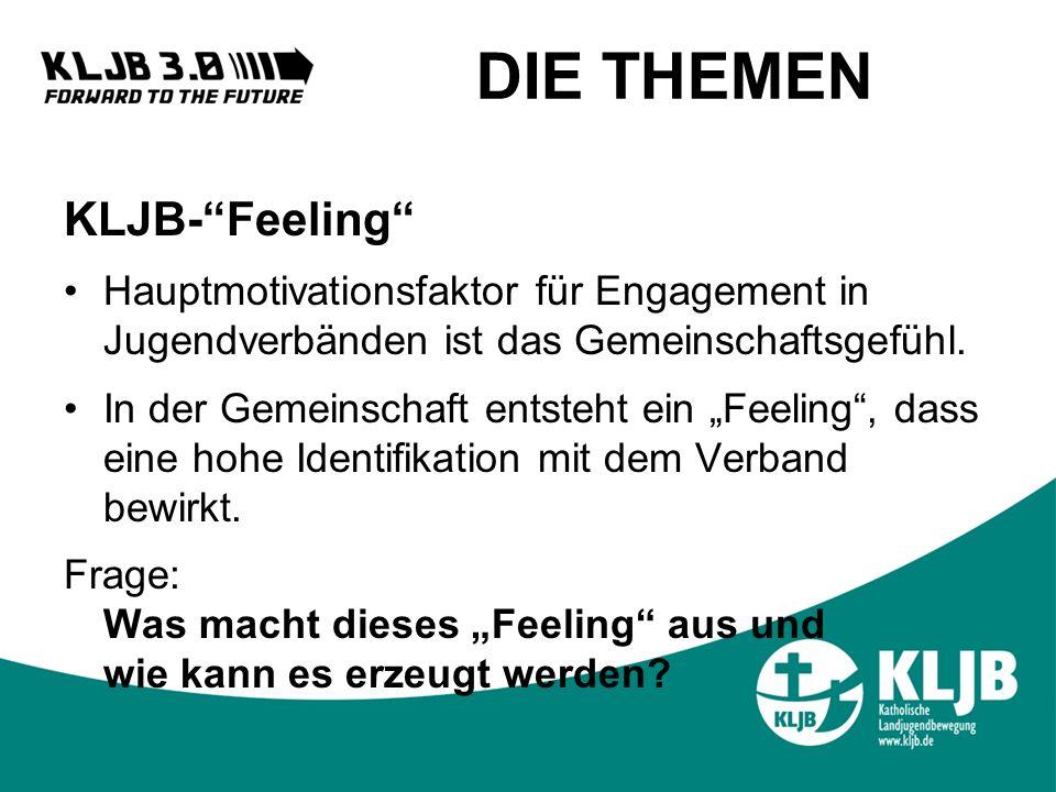 DIE THEMEN KLJB-Feeling Hauptmotivationsfaktor für Engagement in Jugendverbänden ist das Gemeinschaftsgefühl.