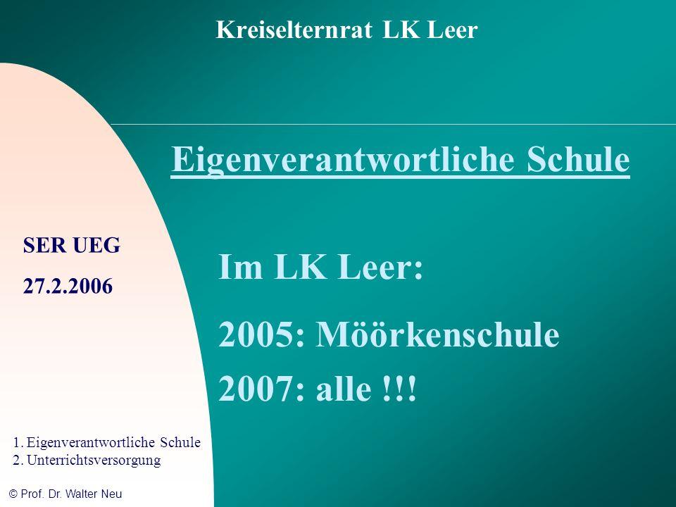 SER UEG 27.2.2006 1.Eigenverantwortliche Schule 2.Unterrichtsversorgung © Prof. Dr. Walter Neu Kreiselternrat LK Leer Eigenverantwortliche Schule Im L