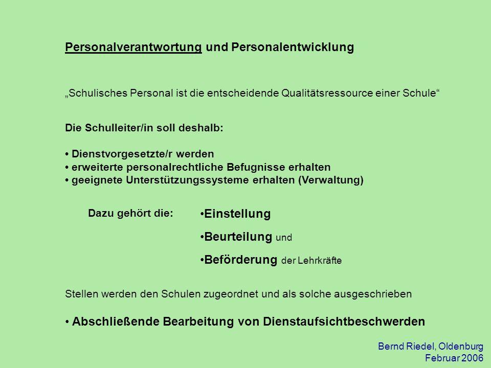 Bernd Riedel, Oldenburg Februar 2006 Personalverantwortung und Personalentwicklung Schulisches Personal ist die entscheidende Qualitätsressource einer