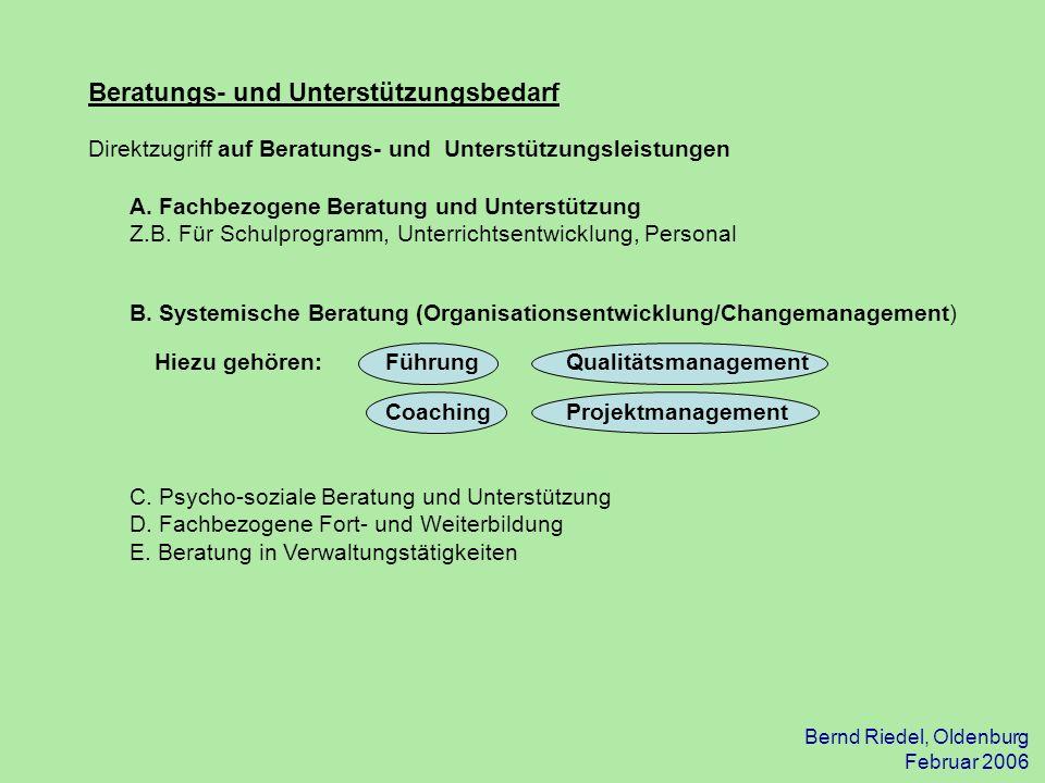 Bernd Riedel, Oldenburg Februar 2006 Beratungs- und Unterstützungsbedarf Direktzugriff auf Beratungs- und Unterstützungsleistungen A. Fachbezogene Ber