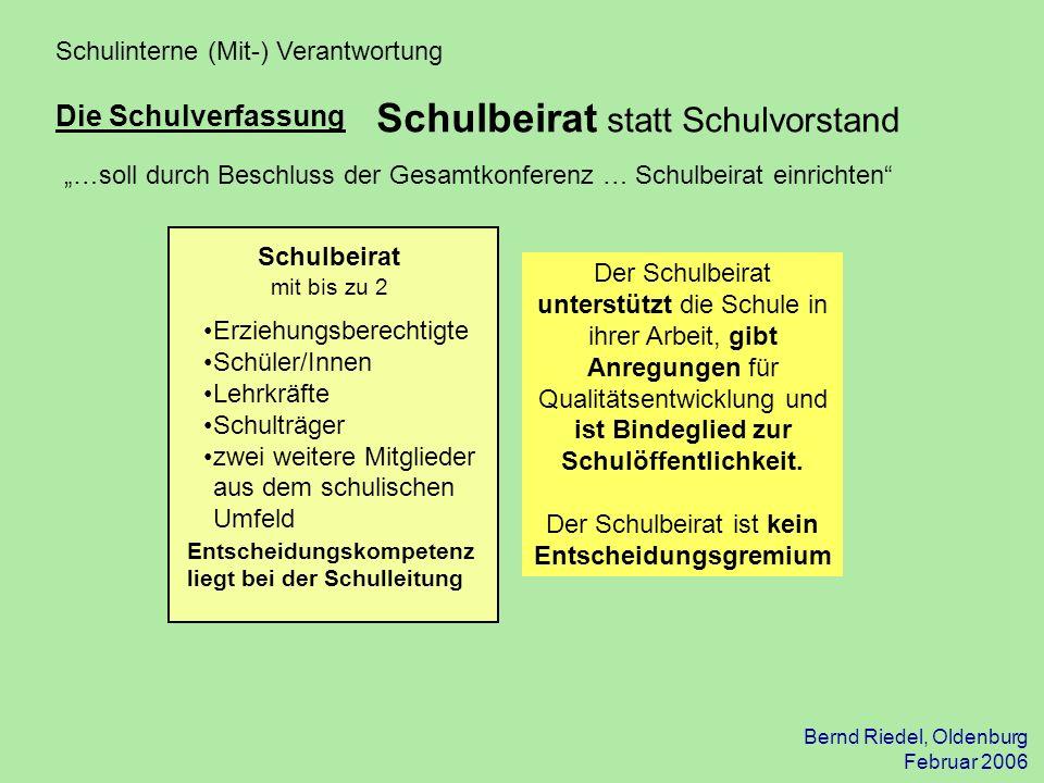 Bernd Riedel, Oldenburg Februar 2006 Schulinterne (Mit-) Verantwortung Die Schulverfassung Erziehungsberechtigte Schüler/Innen Lehrkräfte Schulträger