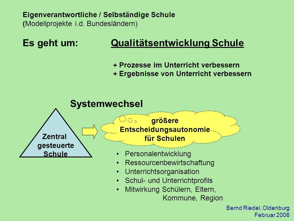Bernd Riedel, Oldenburg Februar 2006 Eigenverantwortliche / Selbständige Schule (Modellprojekte i.d. Bundesländern) Es geht um: Qualitätsentwicklung S