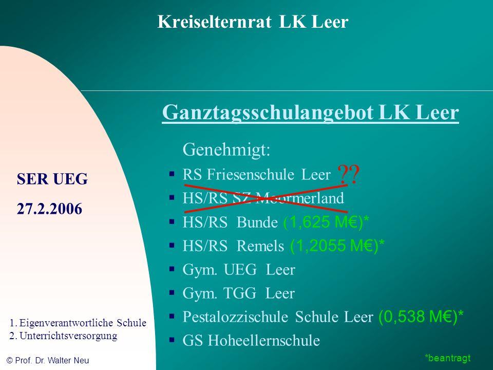 SER UEG 27.2.2006 1.Eigenverantwortliche Schule 2.Unterrichtsversorgung © Prof. Dr. Walter Neu Kreiselternrat LK Leer Ganztagsschulangebot LK Leer Gen