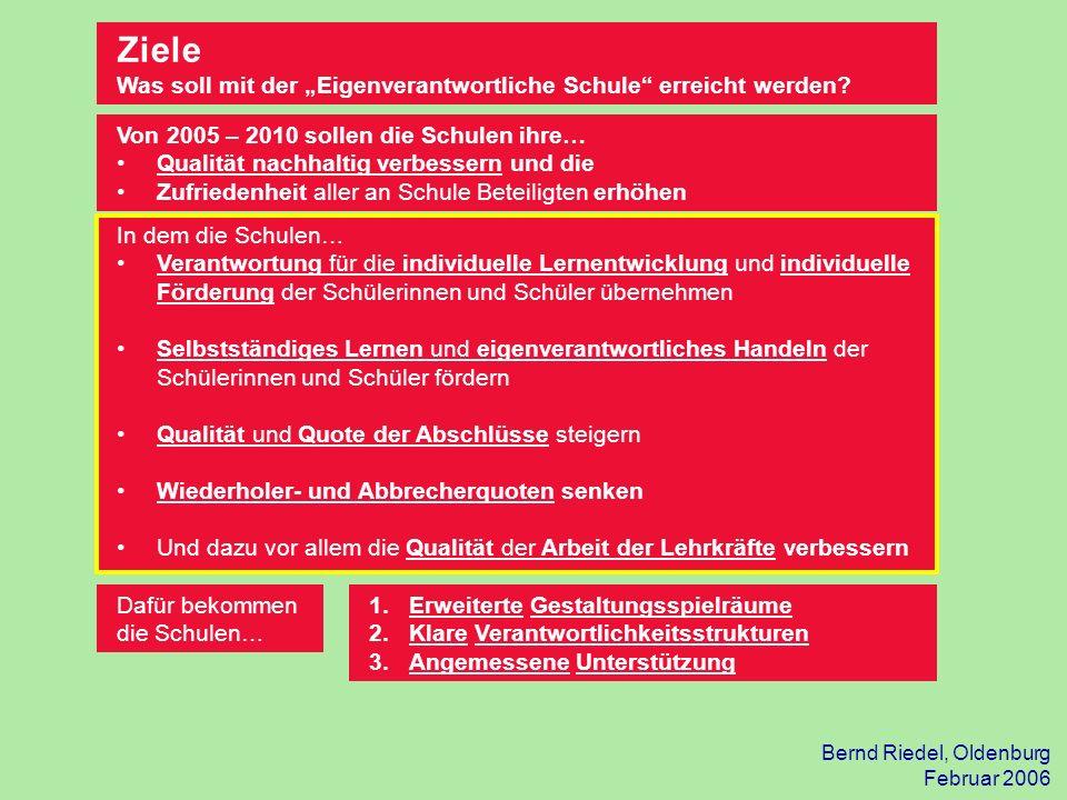 Bernd Riedel, Oldenburg Februar 2006 Dafür bekommen die Schulen… Ziele Was soll mit der Eigenverantwortliche Schule erreicht werden? Von 2005 – 2010 s