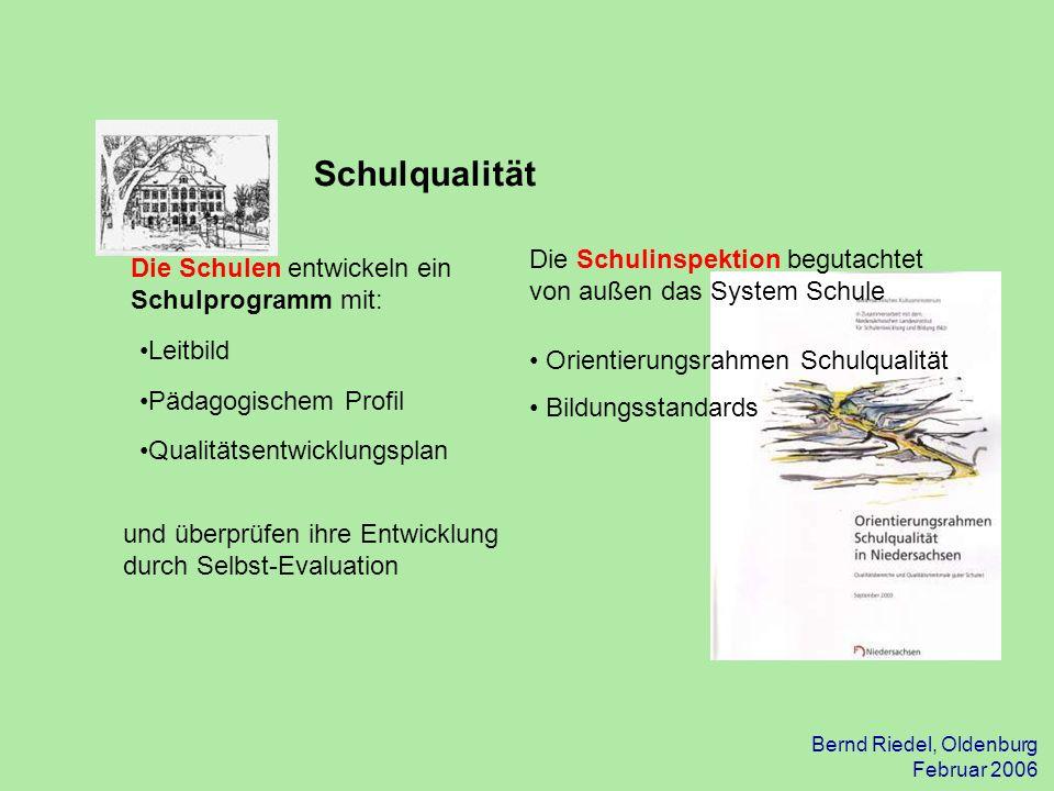 Bernd Riedel, Oldenburg Februar 2006 Aufgaben der Schulleitung Die Schulleitung berichtet schulintern jährlich über: das Schulprogramm mit den Umsetzungsschritten Ergebnisse der Schule (harte Daten) Ressourcenverwendung Maßnahmen zur Qualitätsverbesserung