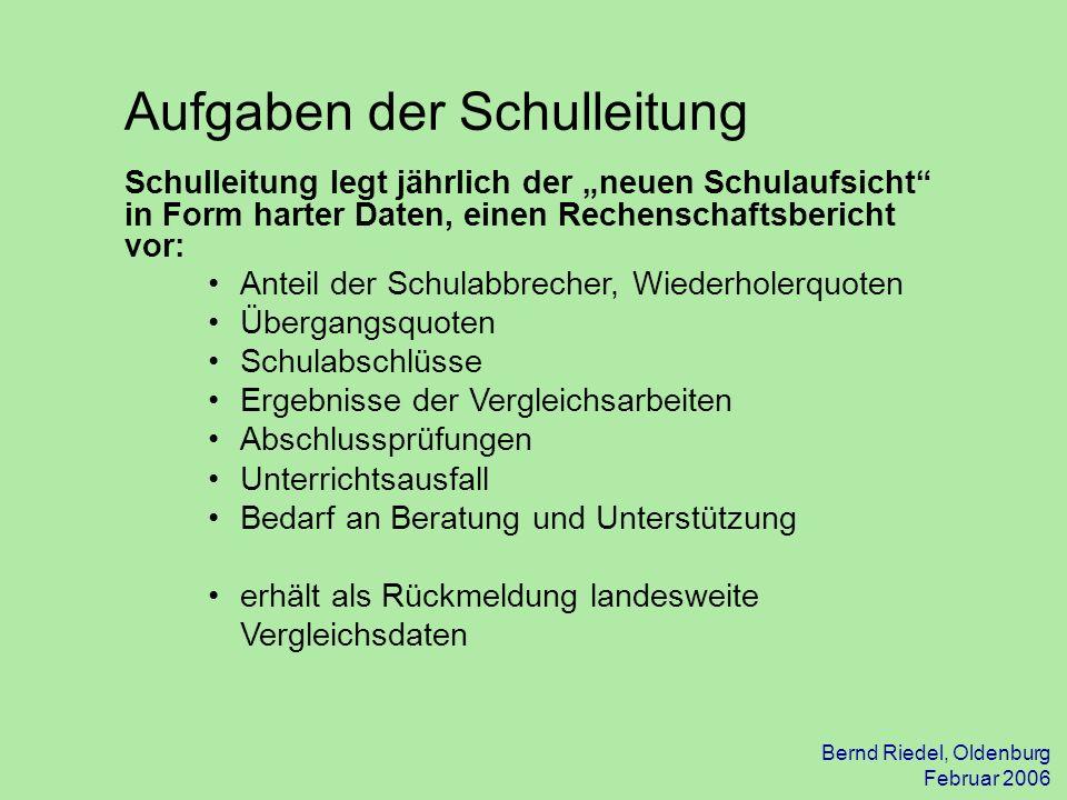 Bernd Riedel, Oldenburg Februar 2006 Schulleitung legt jährlich der neuen Schulaufsicht in Form harter Daten, einen Rechenschaftsbericht vor: Aufgaben