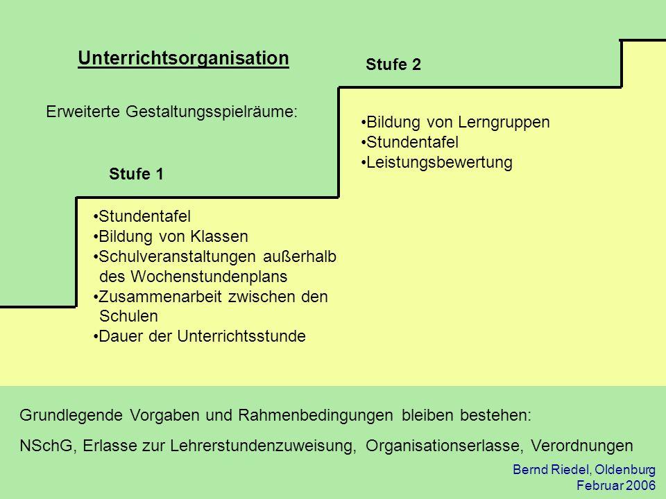 Bernd Riedel, Oldenburg Februar 2006 Unterrichtsorganisation Stufe 1 Stufe 2 Bildung von Lerngruppen Stundentafel Leistungsbewertung Erweiterte Gestal
