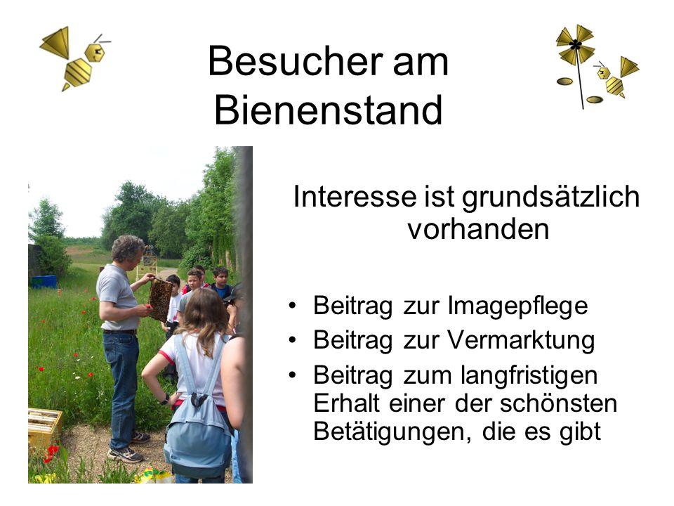 Besucher am Bienenstand Interesse ist grundsätzlich vorhanden Beitrag zur Imagepflege Beitrag zur Vermarktung Beitrag zum langfristigen Erhalt einer d