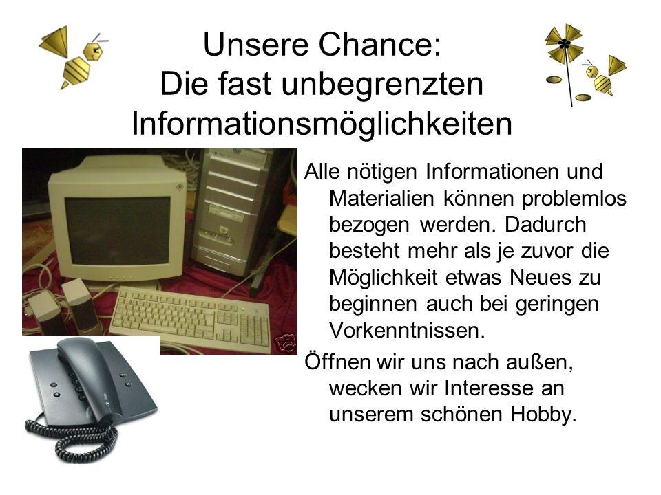 Unsere Chance: Die fast unbegrenzten Informationsmöglichkeiten Alle nötigen Informationen und Materialien können problemlos bezogen werden. Dadurch be