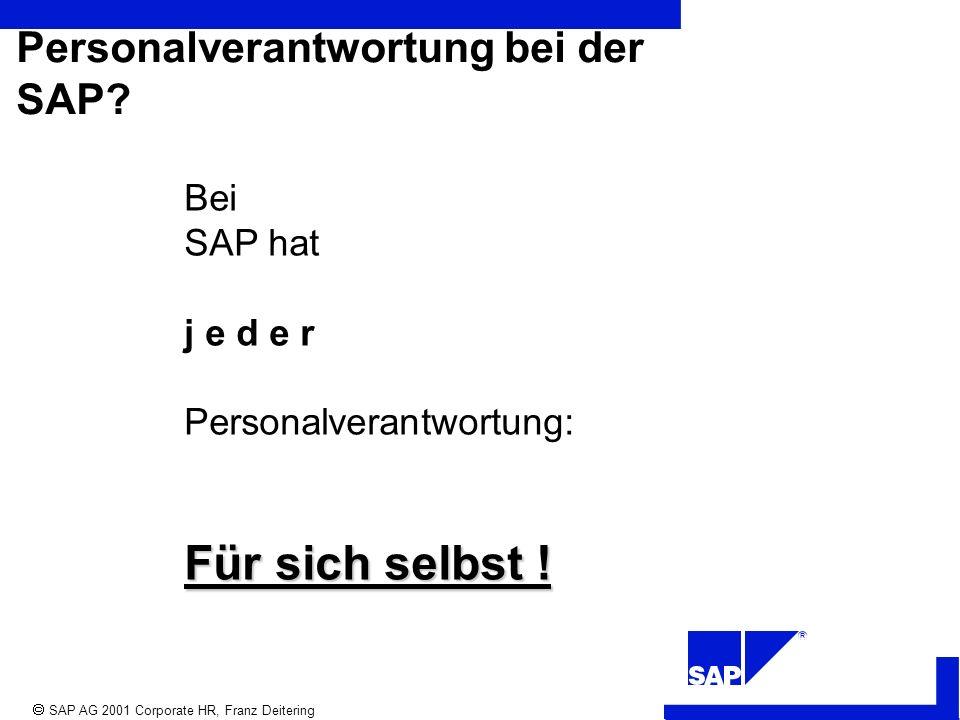 R SAP AG 2001 Corporate HR, Franz Deitering Personalverantwortung bei der SAP.