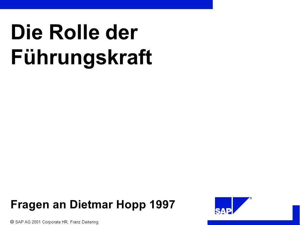 R SAP AG 2001 Corporate HR, Franz Deitering Die Rolle der Führungskraft Fragen an Dietmar Hopp 1997