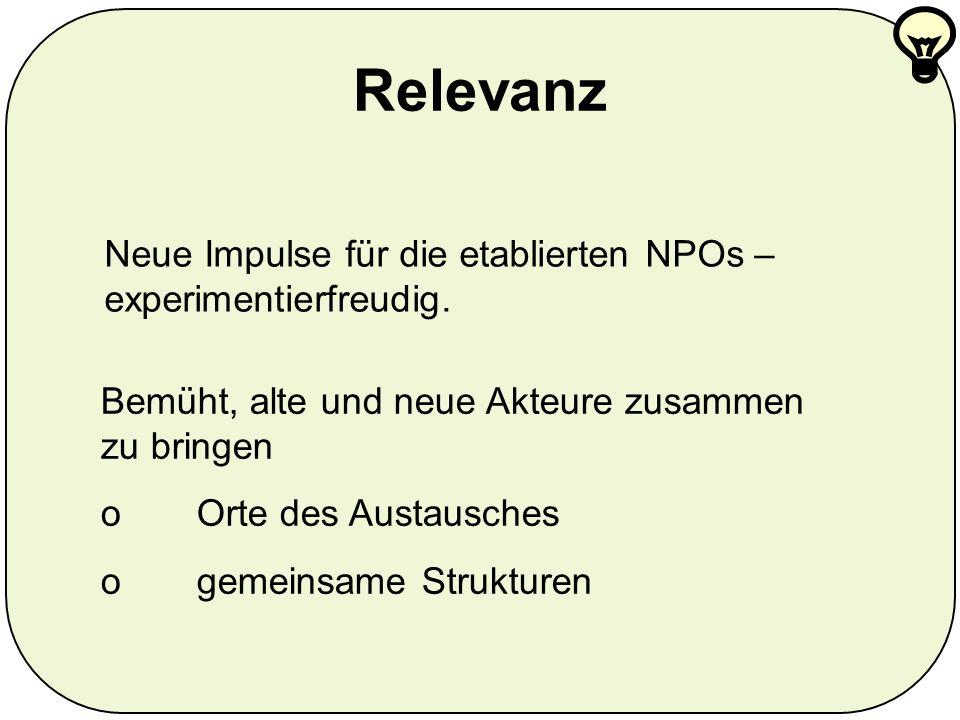 Relevanz Neue Impulse für die etablierten NPOs – experimentierfreudig.