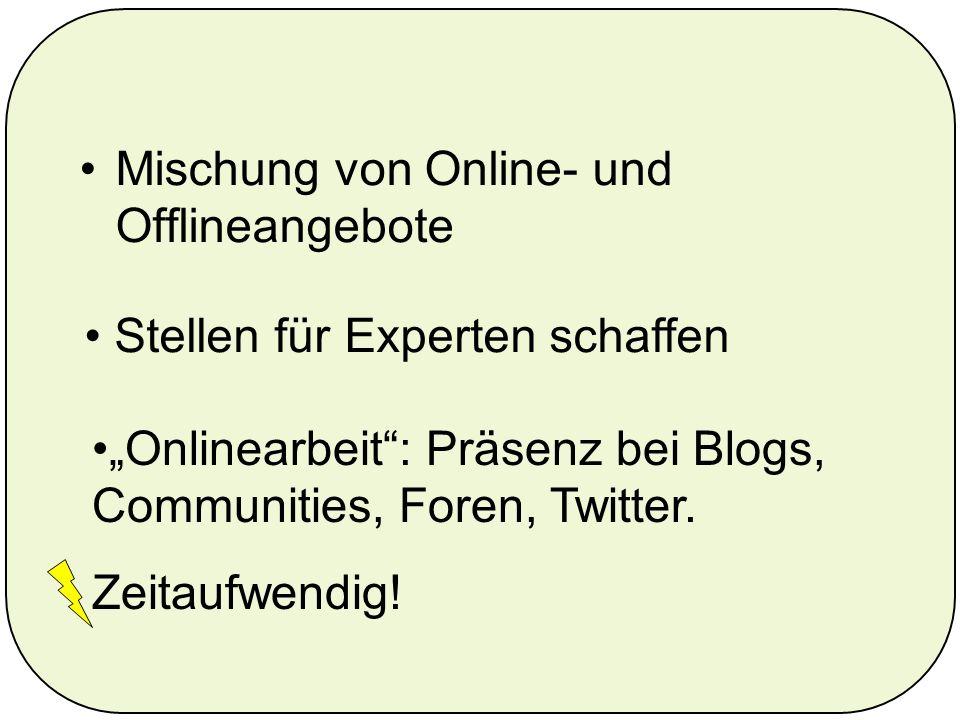 Mischung von Online- und Offlineangebote Onlinearbeit: Präsenz bei Blogs, Communities, Foren, Twitter.