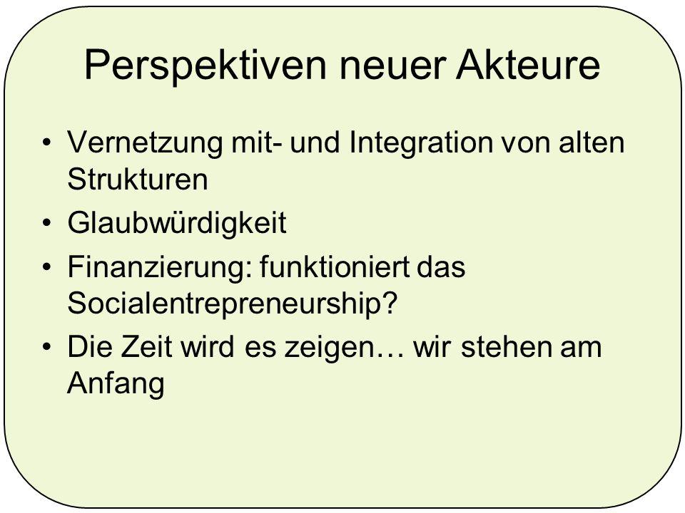 Perspektiven neuer Akteure Vernetzung mit- und Integration von alten Strukturen Glaubwürdigkeit Finanzierung: funktioniert das Socialentrepreneurship.
